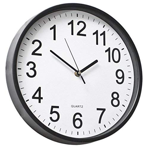 YAVIS 12' Inch Backwards Wall Clock Reverse Clock Runs Counterclockwise Decorative Wall Clock Battery Operated with Large Numbers for Living Room Kitchen Office School Classroom Bar