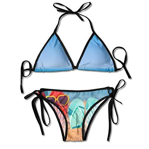 Chanclas en una Playa de Arena con Estampado de Bikini para Mujer,...