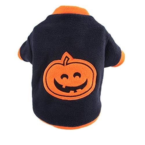 shentaotao Hund Katze Halloween Kostüme Kürbis Funny Pet Cosplay Kleid-welpen-vlies-Mantel-Kleidung Herbst-Winter-Warmer Overall Outfit Kleid M Größe