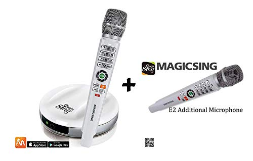 Cheapest Price! Magic Sing E2 BONUS Karaoke Set with 2 Wireless Mics (Main and Sub Mics), 10,000+ En...