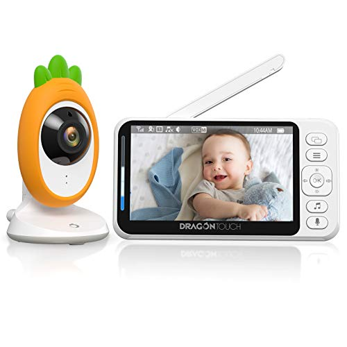 "Dragon Touch Vigilabebés Inalambrico con Cámara 4.3"" LCD Bebé Monitor Inteligente Cámara Vigilancia Vigilabebes con Visión Nocturna Sensor de Temperatura Intercomunicador Bebé Canción de Cuna (E40)"