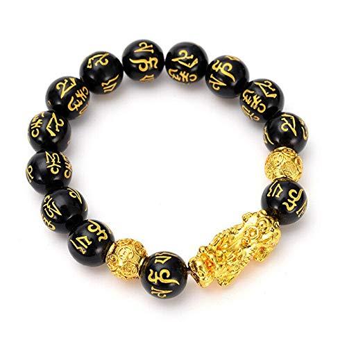 DBJGD Feng Shui Obsidian Stein Perlen Armband Männer Frauen Unisex-Armband Gold Schwarz Pixiu Wealth and Good Luck Frauen-Armband (Metal Color : Gold)