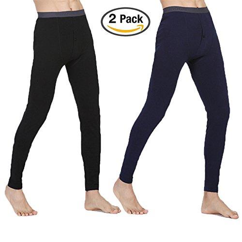 Hmilydyk 2er-Pack Traditionelle lange Unterhose für Herren, warme Thermo-Unterwäsche, weiche Baumwolle, leichte Basisschicht, Größe L-XXXL xl Schwarz
