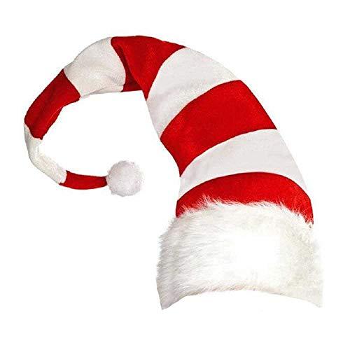 COOGG 1 stuk kerstmuts leuke strepen cartoon creatieve kerstman muts Elf stijl kerstmis hoed decoratieve hoofdtooi party cap 42X20 cm