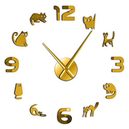 hufeng Reloj de Pared Gatitos Sin Marco 3D DIY Reloj de Pared Mudo Cuarzo Acrílico Efecto de Espejo Etiqueta Reloj Reloj Moda Decoración del hogar Regalo de Amante de los Gatos 27 Pulgadas