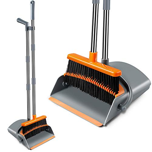 Extendable Broom and Dustpan Set, Durable & Foldable Lobby Broom and Upright Dust pan Combo with Long Handle, Ideal for Kitchen, Home and Indoor Use by Kelamayi (Gray & Orange)