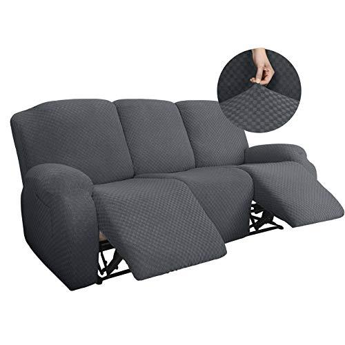 Universal Funda De Sofá Reclinable Superelásticas, Cheques Jacquard Fundas De Sofá con Fondo Elástico para 1 2 3 Seater Chaise Longue Sillón Protector De Muebles-F-3 Plazas