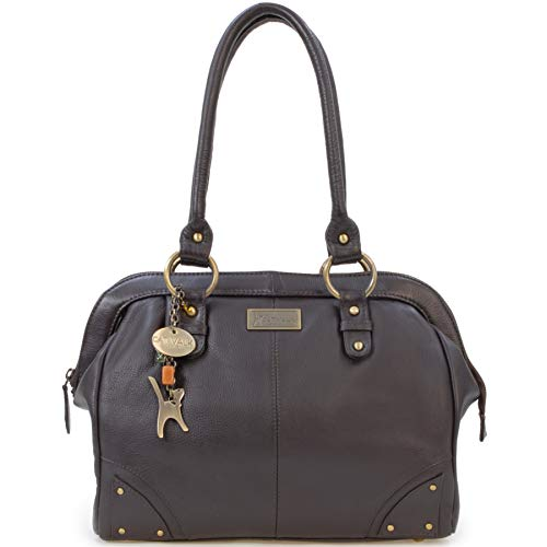 Catwalk Collection Handbags - Leder - Umhängetasche/Ledertasche/Schultertasche- DOCTOR - Braun