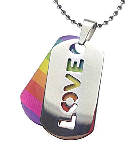 2pc. Love Rainbow Dog Tag - Gay and Lesbian Pride Necklace - LGBT Gay and Lesbian Pride Necklace (Love - Rainbow Pendant)