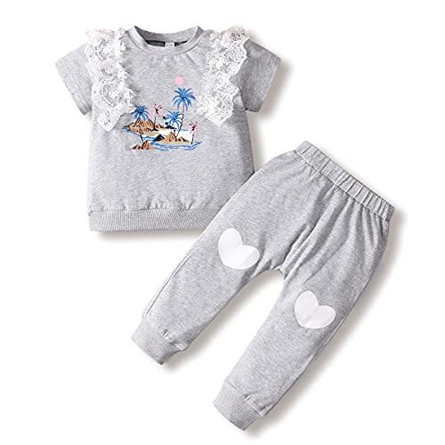 ZOEREA Conjuntos para Bebé Niñas 1-4 años Manga Corta Tops Camiseta de Encaje con Volantes + Pantalones 2 Piezas Bebés Niña Recien Nacido Ropa Verano