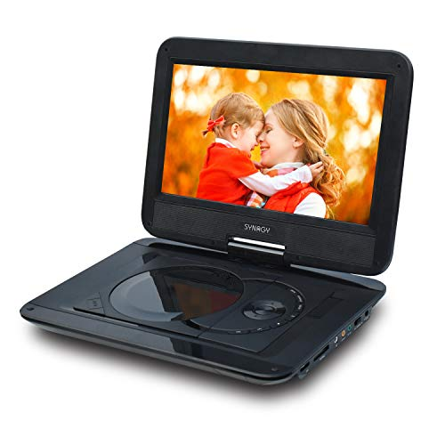 "SYNAGY 12'' Portable DVD Player with 10.1"" HD Swivel Screen, Car Mount Holder, Remote Control, with Built-in Rechargeable Battery,Car Charger and Power Adaptor Support CD/DVD/VCD/SD Card/USB(Black)"