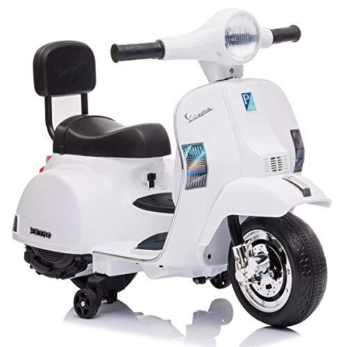 Mediawave Store - Mini Vespa Ufficiale Piaggio PX 150 Moto Elettrica LT913 Giocattolo per Bambini, Vespa Elettrica per Bambini Scooter con rotelline (Bianca)