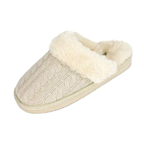 DREAM PAIRS Women's Cozy_06 Beige Cable Knit Faux Fur Mules Comfy Slippers Size 5.5-6 M US
