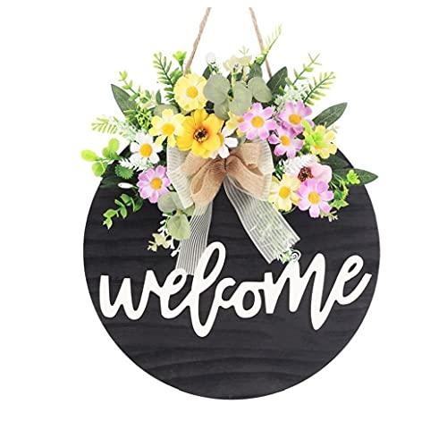Signo de bienvenida para la puerta principal, signo de porche de la casa de campo, adornos de puerta de madera rústica decoraciones de la puerta de la puerta colgando con flores y arco, 11.61x