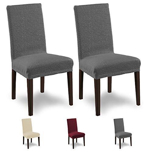 Housses de chaises SCHEFFLER-Home Tunez 2 Set, élastiques Couverture Spandex, Couvre revêtement de Chaise, Gris
