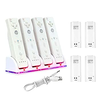 Insten 4 Port Quad Charging Station with 4 Rechargeable 2800 mAh Battery Compatible With Nintendo Wii Remote Control Dock White