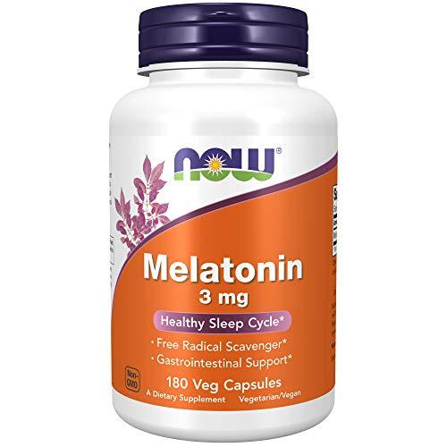 NOW Supplements, Melatonin 3 mg, Free Radical Scavenger*, Healthy Sleep Cycle*, 180 Veg Capsules