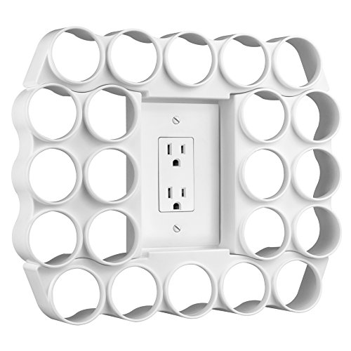 Storage Theory | 22 Capacity Single Serve Coffee or Tea Pod Wall Display | Use Existing Outlet Cover to Free up Counter Space | White Color