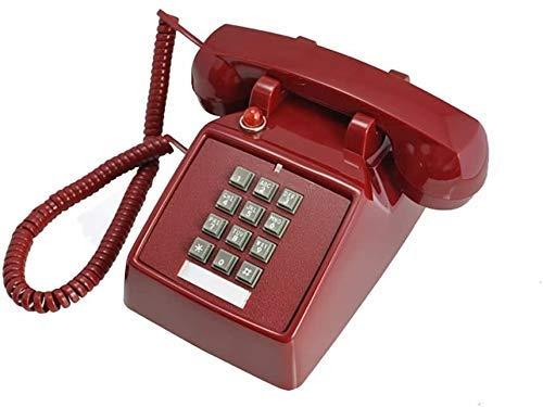 Teléfono Teléfono Inicio Red Classic Retro 1970S Teléfono fijo de estilo vintage, Características Teléfono de campana tradicional y dial de pulsador - Tapones en el zócalo del teléfono estándar (color