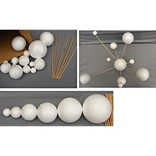 Make Your Own Solar System Model ~ 14 Mixed Sized Polystyrene Spheres / Balls 2cm to 7cm Diameter & 20cm Long Wooden Rods School Projects