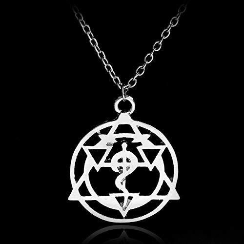 YUNMENG Fullmetal Alchemist Symble Gargantilla Collares Colgantes de aleación Edward Hollow Link Cadena Collar Anime Souvenir