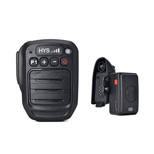 HYS Walkie Talkies Bluetooth Wireless Mic 2 Pin Shoulder Speaker Mic with AD344 GP344 to GP300 Adapter for Motorola Radio GP328Plus GP338Plus EX500 EX600 EX600XLS