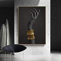 手をつないで腕輪キャンバス絵画ポスタープリント壁アート黒と金の壁の写真リビングルームのミニマリストの装飾50x70cm(フレームなし)