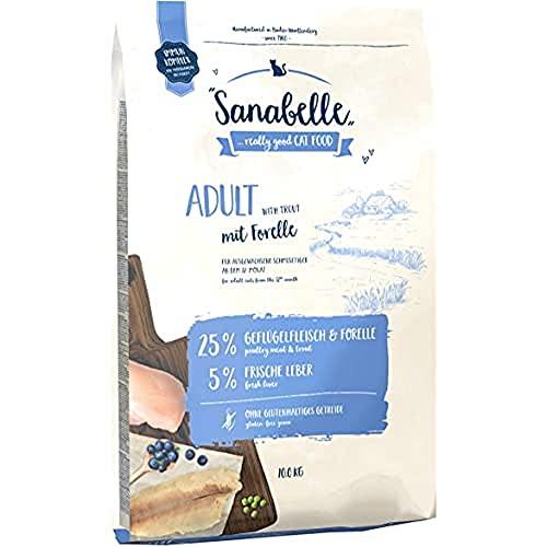 Sanabelle Adult | Con Aves de corral frescas y trucha fresca | Comida seca para gatos adultos de todas las razas | sin gluten | 10 kg