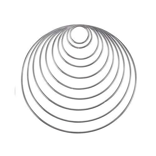 10 Pezzi Acchiappasogni Anelli Di Metallo Cerchio Per Dream Catcher In 10 Diverse Dimensioni...