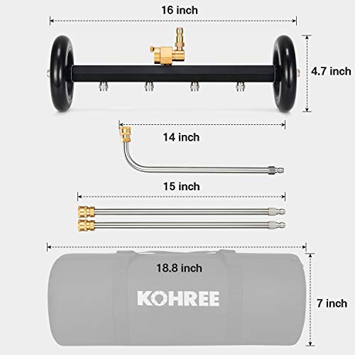 Kohree Undercarriage Pressure Washer Cleaner Attachment, 2 in 1 Underbody Car Washer Water Broom 16