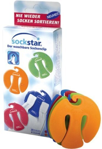 Sock-clips SOCKSTAR Basic Line - Family Pack = 20 pieces in 4 colours by Sockstar