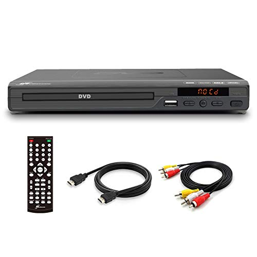 Mediasonic DVD Player – Upscaling 1080P All Region DVD Players for Home with HDMI / AV Output, USB Multimedia Player Function, High Speed HDMI 2.0 & AV Cable Included (HW210AX)