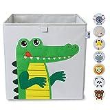 wonneklein Aufbewahrungsbox Kinder grau I extra stabile Spielzeugkiste für Kinderzimmer I Box (33x33x33 cm) zur Aufbewahrung I graue Ordnungsbox mit Tier Motiv (Karl Kroko)