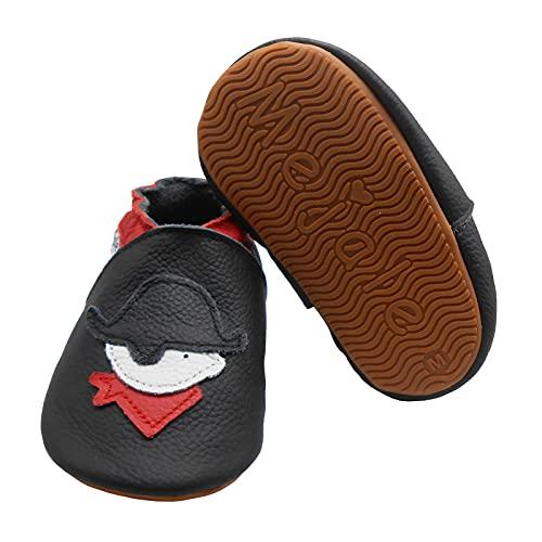 Mejale Zapatillas de piel suave con suela de goma para bebés y niños pequeños, Pirata negra., 23/24 EU