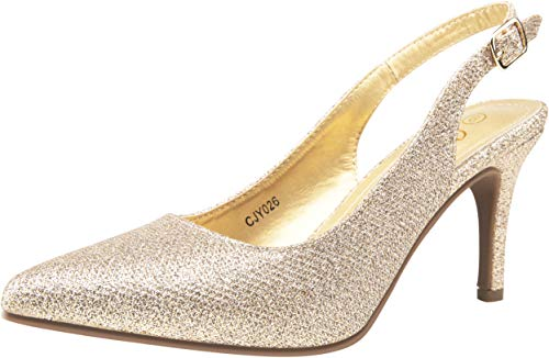 JEOSSY Women's Gold Glitter Low Heel Slingback Pumps Mid Kitten Heel Comfortable Dress Shoes for Women(9.5,Slingback-026-Gold Glitter)