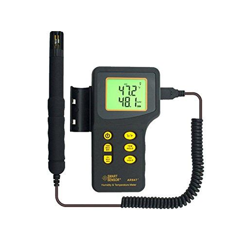 liuchenmaoyi Metalldickenzähler Digitalthermometer Thermo-Hygrometer 2 in 1 K Typ 1000 C Thermoelement Feuchtigkeitstemperaturmesser Messgerät Feuchtesensor AR847 Dickenzähler