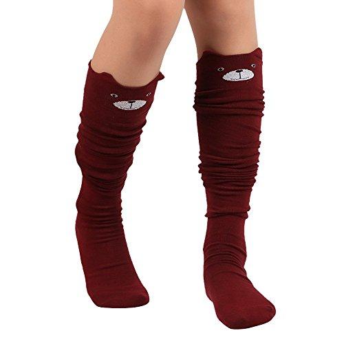 LIMITA Damen Overknee Strümpfe Cat Catoon Drucksocken Lange Socken Hohe Socken Gestrickte warme Baumwollsocken