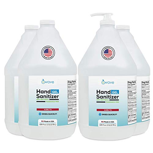 Wave Gel Hand Sanitizer | Advanced No-Rinse Gel | 75% Alcohol | Made in USA | 4 Pack of 1 Gallon Bottles +1 Pump