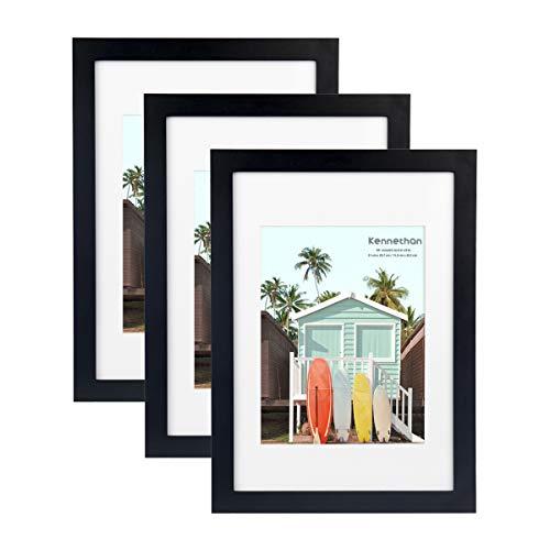 Kennethan 100% Echtholz Bilderrahmen Schwarz A4 3er Set -mit Passepartout 15x20cm, Fotorahmen mit Acrylglas zum aufhängen und aufstellen
