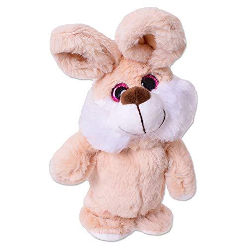 TE-Trend Sprechendes Laufendes Tier Rabbit Hase Labertier Nachplapper Plüschtier Nachsprechend 20cm Hellbraun Weiß