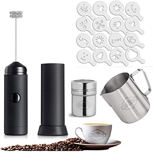 QJJML Milk Frother Set,Electric Coffee Whisk with 350ml Stainless Steel Milk Frothing Jug for Cappuccino,Mini Handheld Foam Maker Mixer for Latte,Frappe,Matcha,Hot Chocolate,Includes 16 Stencils