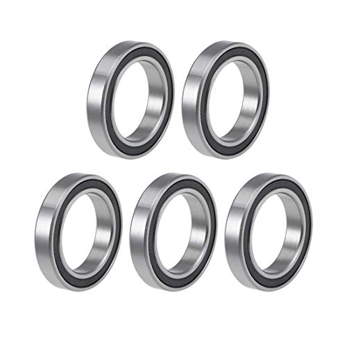 uxcell 6805-2RS Deep Groove Ball Bearings 25mm Inner Dia 37mm OD 7mm Bore Double Sealed Chrome Steel Z2 5pcs