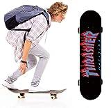 QIXIN Waterproof Skateboard Tape, Skateboard Grab bar, Skateboard Deck Sandpaper (Sandpaper + Skateboard Cleaning Eraser) (Flame)