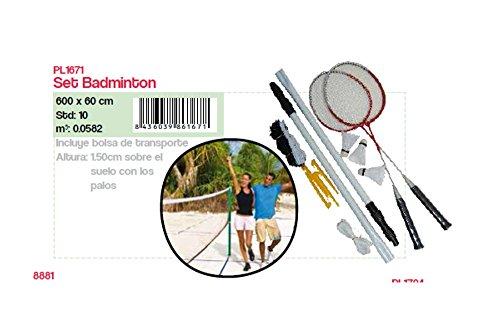 PL Ociotrends - Set de Badminton con Palos, Raquetas y Plumas en Bolsa de Transporte, 150 cm de Altura