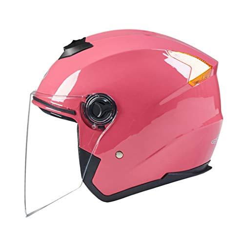 ZXW Casque- Casque de moto électrique pour hommes et femmes, quatre saisons, casque antibrouillard transparent universel (Couleur : Pink-22x30cm)