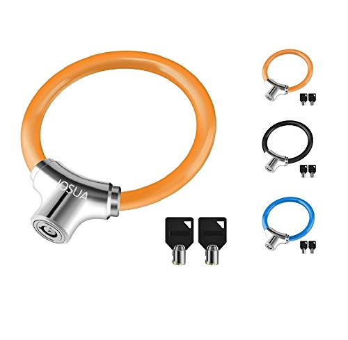 Bike Lock Anti Theft 12mm Lightweight Unbreakable Bicycle Wheel Portable Locks with 2 Keys for Road Mountain Commute Bike Scooter Lock Gift for Child Kids (Orange)