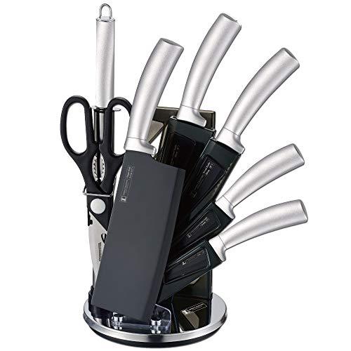IMPERIAL COLLECTION IM-SHN8: Ensemble de 8 Couteaux inoxydable avec Support Rotatif