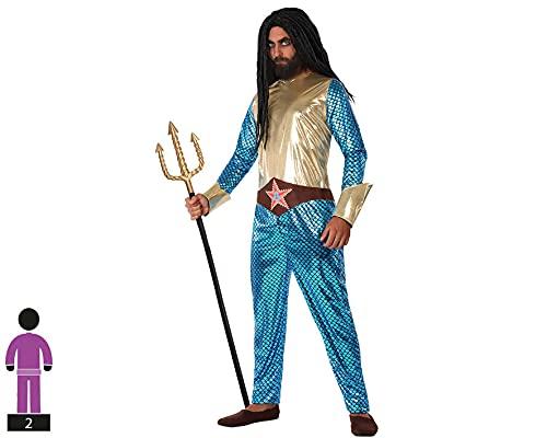 Atosa-61529 Atosa-61529-Costume travestimento da fumetto metallizzato, per adulti, uomo, 61529, blu, XL