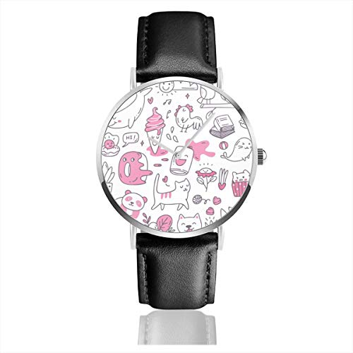 Reloj de Pulsera de Cuarzo Kawaii Doodles Casual...