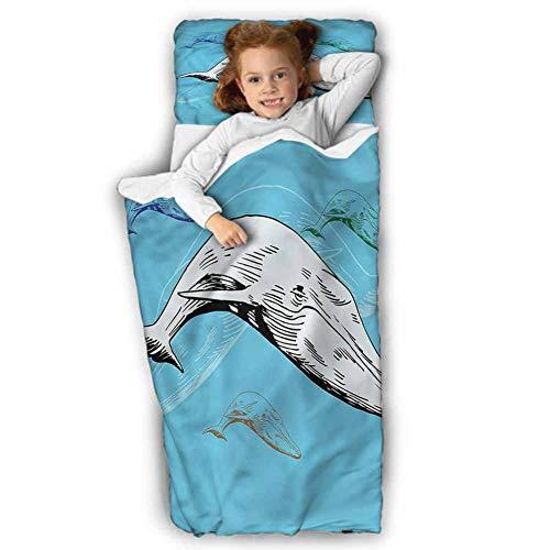 Great Deal! Whale Children's Sleeping Bag Ocean Whales Hand Drawn for Preschool, Daycare, Kindergarten 43X21 INCH